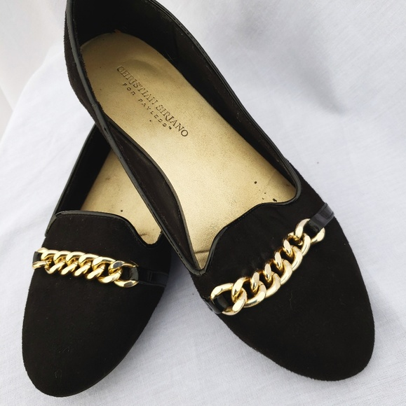 Faux Suedegold Chain Loafers